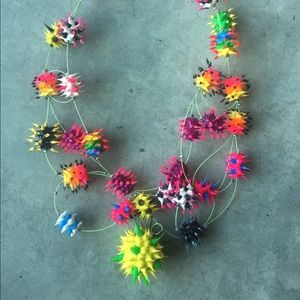 Jewelry - Rainbow Raver Rubber Spiked Ball Necklace